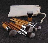 10PCS Fasion maquillaje pinceles de bambú natural Maneja Súper cerdas suaves Ecológico 10 PC / maquillaje cepillo conjunto de sistema de cepillo