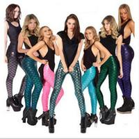 Cheap Sexy Mermaid Print Fish Scale Leggings Fitness Skinny Leggings for Women Spring Stretchy Slim Spandex Leggings A3