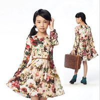 floral print dress - 2015 New Arrival Spring High Quality Children Floral Dress Childrens Girl Princess Dress Kids Flower Printed Clothes Skirt Dress B