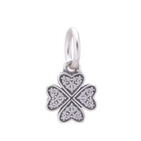 silver charm - silver clover charms pave clover pendant guarnateed s925 solid sterling silver slide charms loose beads european charms LW378