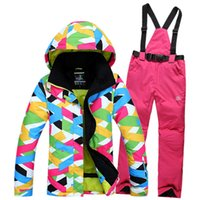 Wholesale Colorful Waterproof Sportwear Female Ski Suit Women Winter Ski wear Top Hoodie Coat snow jacket pants