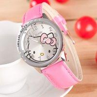 Precio de Gifts-2015 más nuevo Hello kitty Relojes de pulsera para los regalos de los niños de las muchachas de los niños de la muñeca del partido del reloj de la Navidad del regalo del cuarzo del reloj envío libre de DHL