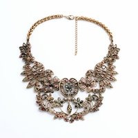 beaded collar necklace pattern - Europe Pop Vintage Metal Hollow Out Flower Pattern Choker Necklace Exaggerated Necklace False Collar Accessories