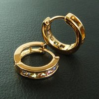 Wholesale 9K CT GOLD Filled Withmulticolour Swarovski Crystal Hoop Earrings E68