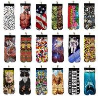 colorful socks - 60 pairs Cotton Skateboard socks colorful thermal knee high socks stocking Harajuku d printed picture socks basketball men s socks