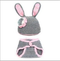 Wholesale Rabbit New born Baby Girl Crochet Knit Costume Photo Photography Prop Outfit Hat girls trapper hats