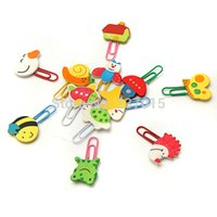 Wholesale 12pcs Cute Cartoon Animal Wooden Bookmark Paper Clips School Supplies Stationery