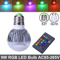 Bombilla LED RGB 2015 nueva llegada RGB Spotlight E27 GU10 9W CA 85-265V RGB LED de la lámpara LED con control remoto de múltiples colores rgb llevó la lámpara