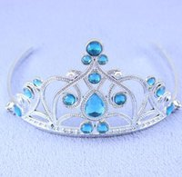 Wholesale frozen Crown bling tiara for girls Elsa princess Queen princess rhinestone colorful party ball hair accessories pageant hairbands women gift