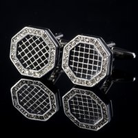 Wholesale new design personality Octagon cufflinks in silver color with crystal Czech diamond French style men s shirt Cufflinks