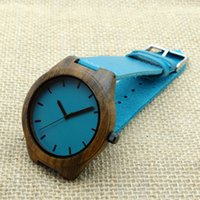 wood watches wholesale - High Quality Wooden Watch Casual Quartz Watches Blue Minimalism Natural Wood Wristwatches Japan men s watch reloj mujer with Gifts Box