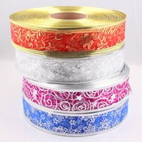 bell patterns - 38mm wedding ribbon Christmas ribbon Silver Gold Seal Star Grass Snowflake Bell Pattern Organza Ribbon Strap JJAL X06