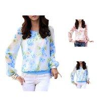 Wholesale S5Q Sexy Women Chiffon T Shirt Sweet Floral Print Long Sleeve Blouse Casual Tops AAAEMC