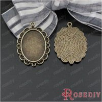 bezels jewelry - Total Random Mixed style Zinc Alloy Trays Bezels Pendants Oval Cabochon Beads Settings Diy Jewelry Findings