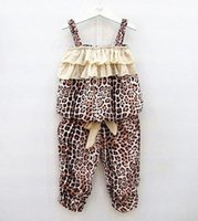 ruffle pants - Summer Girls Sets Kids Leopard Striped Ruffles Suspender Tops Pants Outfits Children Clothing Vest Layered Bow Short Pants Sets