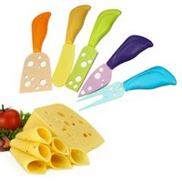 cheese cutter - 5Pcs Colorful Plastic Handle Cheese Butter Fork Spreader Stainless Steel Knives Sets Cutter Kitchen Cooking Tools Random Colors