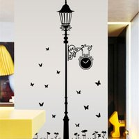 Wholesale Romantic Wall Stickers Street Lamp Butterfly Wall Sticker Good Quality PVC Transparent Film Removable Decorative Wall Stickers