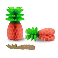 decorative fruit - Big pc Tropical Fiesta Paper Pineapple Honeycomb Centerpiece Fruit Party Table Decorations Fashion Red Tissue Paper Fruit PA32