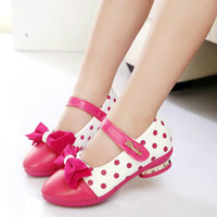 Wholesale 2016 New Y princess children shoes fashion PU polka dot shoe for girls spring breathable solf girls leather shoes low heel shoes