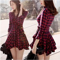 Wholesale 2015 spring new arrival elegant vintage plaid long sleeve slim waist one piece dress winter women casual short red dresses bodycon dress