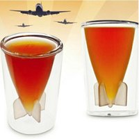Cheap Novelty Missile Model Double Layer Rocket Bomb Shape Glass Cup Beer Whisky Vodka Wine Shot Glass Cup Caneca Copos