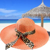 Wholesale Women Sun Hat Candy Color Straw Hat New Arrival Fashion Wide Large Brim Summer Beach Cap with Leopard Ribbon Rose