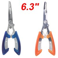 Wholesale 6 quot Stainless Steel Fishing Pliers Scissors Line Cutter Remove Hook Fishing Tackle Tool Orange Blue