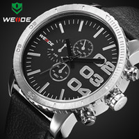Wholesale New WEIDE Hot Sale genuine leather Men Business Watch Meters Water Resistant with retail box