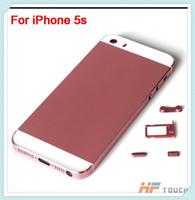 al por mayor iphone batería de color rosa-Reemplazo de cristal trasero de las piezas de reparación de la cubierta de la puerta de la cubierta de batería de la alta calidad rosada para el envío libre colorido del iphone 5S