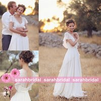 bridal gown sweep train - 2016 Spring Summer Bohemian Country Rustic Beach Garden Wedding Dresses with Delicate Back Look Detail Delicate Ruffle Chiffon Bridal Gowns