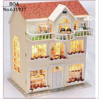 Wholesale DIY Doll House Dream Fairy Model Building D Miniature Handmade Wooden Dollhouse With Furniture and light Toy Christmas Gift