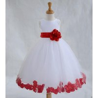 Wholesale Cheap Lace Ball Gown Little Bridal Flower Girls Dresses For Wedding Party Princess Ruffle Bow Floor Length Tulle Kids Girls Pageant Dresses