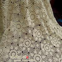 bedspreads curtains - european fashion design crochet hook beige bedspread sheet cotton lace curtain flowers decoration bedcover