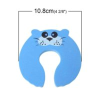 Wholesale Baby Children Safety Door Stoppers Hold Lock Safety Guard Finger Protect Blue Lovely Cats x10 cm new