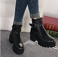Cheap 2015 stylenanda fashion buckle platform chunky heel shoes brown women boots black leather boots short boots