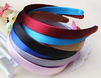 Wholesale Satin Ribbon Band - 50pcs Colored Satin Covered Resin ribbon winding hair band Kids hair Accessories width :2cm Basic head band for woman girl Lady FJ3114