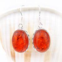 amber chandelier crystals - Silver fashion women silver Fire amber brazil citrine earring E0292