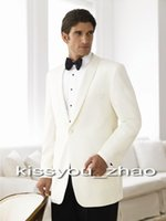 Wool Blend Reference Images Two-Button 2014 Fashion Brand Style White Groom Ceremony Tuxedo&Suits prom suits wedding suits for groom wear suit(Jacket+Pants+Bowtie)Free Shipping