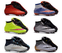 Wholesale New boys soccer shoes kid shoes with ankle superfly fg cr7 football boots kids boy youth cristiano ronaldo football shoes silver white