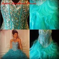 aqua shirt - 2016 Cheap Sweet Dresses Retro Quinceanera Dress Sweetheart Sweet Aqua Beads Vestidos De Lace Up Organza Party Prom Ball Gowns