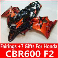 Cheap Burnt orange black fairing kit for Honda CBR600 F2 1991 1992 1993 1994 orange fairings CBR 600 F2 91 92 93 94