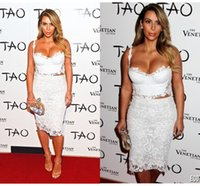 Cheap 2015 White lace Kim Kardashian sexy short prom celebrity dreses spaghetti straps backless knee length sheath party evening gowns