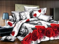 Cheap Sexy Marilyn Monroe red rose printing polyester bedding sets bedclothes on queen beds with duvet quilt cover bed sets 4 5pc comforter set