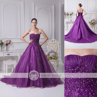 Wholesale 2015 Strapless Purple Quinceanera Dresses Ball Gown Lace Appliques Beading Real Image Girl s Prom Sweet Gowns Custom