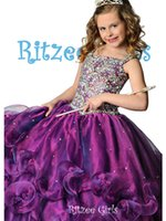 Wholesale 2014 Cute Pageant Dresses Full Length Organza Purple Green Red Girls Pageant Dresses Ball Gown Flower Girl Dresses Crystal Cupcake Dresses