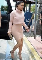 Wholesale High Quality New Celebrity Vestidos Sexy Long sleeved Short Women Bodycon Casual Dresses Kim Kardashian Two Pieces Dress Kim Kardashian