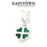 Wholesale 2016 Top quality lucky clover beads silver charm pendants fit pandora bracelets and bangles