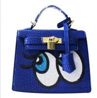 big eye tote bag - Crocodile women big eye bag doctor small women leather handbags sweet women clutch lock women messenger bags sequins bolsa sac