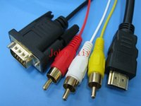 Cheap Free shipping HDMI to 3RCA VGA cable cord with gold-plated