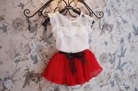 Cheap Summer Girl Lace Dresses Clothing Set Korean Chiffon Vest Shirt + Short Skirt 2pcs Kids Suit 3 Colour 100-140 Fit 3-8Age Chidlren Dress